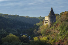 A watchtower above the canyon of the Smotrych River in Kamianets-Podilskyi, Royalty Free Stock Photos