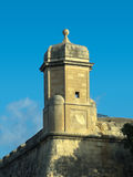Watchtower Against Blue Sky in Valletta. Typical watchtower of town fortifications Valletta, Malta Royalty Free Stock Photos
