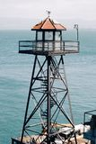 Watchtower on Alcatraz Island, San Francisco Bay. Bright blue water Stock Photo