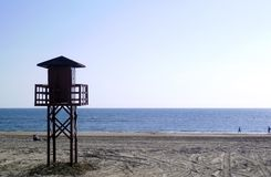 Watchtower of the beach watchers in the bay of Cádiz capital, Andalusia. Spain. Europe royalty free stock images