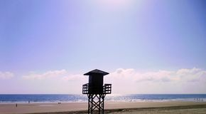 Watchtower of the beach watchers in the bay of Cádiz capital, Andalusia. Spain. Europe stock photo