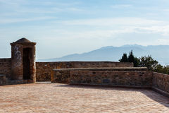 Watchtower of  Castillo de Gibralfaro. Walls of courtyard of  Castillo de Gibralfaro, Costa del Sol, Andalusia, Spain Stock Image