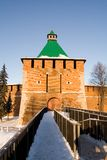 Watchtower in citadel in Nizhniy Novgorod, Rusland royalty-vrije stock foto