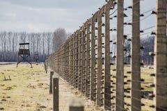 Watchtower in concentratiekamp Auschwitz Birkenau Polen, 12 Maart, 2019 royalty-vrije stock afbeeldingen