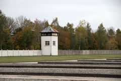 Watchtower in the Dachau Concentration camp memorial Royalty Free Stock Photo