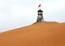 Watchtower in desert Stock Photo