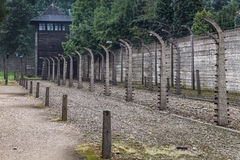 Watchtower and electric fence at Auschwitz Stock Images
