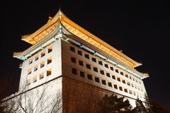 Watchtower in beijing night Stock Image