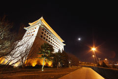 Watchtower in beijing night Stock Photography