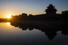 Watchtower of Forbidden City at sunrise Royalty Free Stock Images