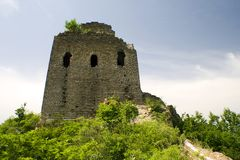 Watchtower of the great wall on top of a hill Royalty Free Stock Image
