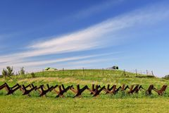 Watchtower and line of defense, old state border of the Iron Curtain - barbed fence. Memorial military area - Satov Czech Republic Stock Photography