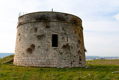 Watchtower. Magnisi Peninsula, Syracuse, Sicily. Stock Photos
