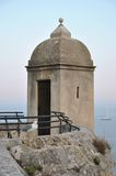 Watchtower of Monaco Castle. Turret on wall of Monaco Castle with sea views in the evening light Stock Photography