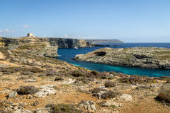Watchtower near the Blue Lagoon in Comino Island - Gozo, Malta. Watchtower near the Blue Lagoon in Comino Island in Gozo, Malta Stock Image