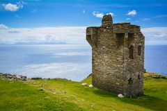 Watchtower near the Slieve League, County Donegal, Ireland. Sliabh Liag, sometimes Slieve League or Slieve Liag, is a mountain on the Atlantic coast of County Stock Image