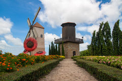 Watchtower. Observation tower garden flowers in a clear sky Royalty Free Stock Photos