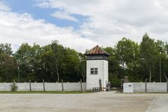 Watchtower och omkrets i dag Dachau koncentrationsläger Royaltyfri Bild