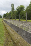 Watchtower och omkrets i dag Dachau koncentrationsläger Arkivbilder