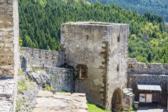 Watchtower of the old fortress with a gate. Spissky castle. Slovakia royalty free stock photos