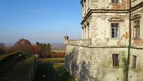 Watchtower of old Pidhirtsi Castle. An architectural elements of an ancient castle. Ukraine. Watchtower of old Pidhirtsi Castle. An architectural elements of an stock video footage