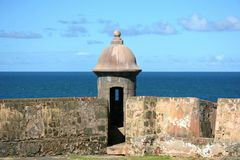 Watchtower Old San Juan. Puerto Rico Historic Site  Castillo San Cristobal Royalty Free Stock Images