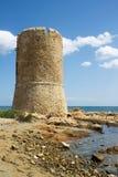 Watchtower på havet i Sardinia Royaltyfria Bilder