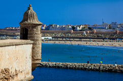 Watchtower. This watchtower is a part of old ruins in Oudayas, Rabat, Morocco Stock Images