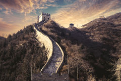Watchtower and path on Great Wall Stock Image