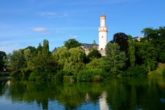 Watchtower reflecting in pond Royalty Free Stock Image