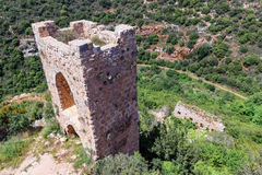 Watchtower and remains of outer walls of castle Monfort Royalty Free Stock Images