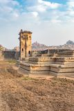 Watchtower and remains of a palace, Hampi, Karnataka, India. Watchtower and remains of a palace in Hampi, Karnataka, India, Asia stock image