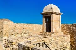 Watchtower of Santa Barbara Castle in Alicante, Spain Royalty Free Stock Photos