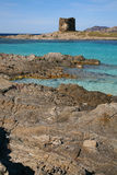 Watchtower in Sardinia. Old watchtower at the Pelosa beach near Stintino, in Sardinia, Italy stock photos