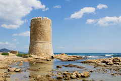 Watchtower on the sea in Sardinia royalty free stock photos