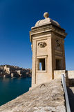 Watchtower, Senglea, Malta. A view on La Valletta from a watchtower in Senglea in Malta royalty free stock images