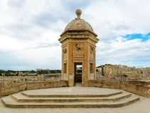 Watchtower in Senglea, Malta. Garden view. The Vedette at Senglea, Malta. Garden view Royalty Free Stock Image