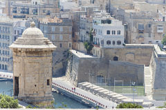 Watchtower, Senglea, Malta. A view on La Valletta from a watchtower in Senglea in Malta Royalty Free Stock Photo