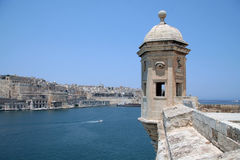 Watchtower, Senglea, Malta. A view on La Valletta from a watchtower in Senglea in Malta Stock Photo