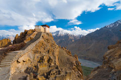 Watchtower Spiti Valley Dhankar Close Mountains Stock Images