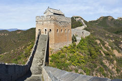 Watchtower at sunset at Jinshanling Great Wall, northeast from Beijing. stock photo