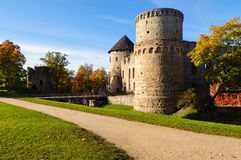 Watchtower and surrounding wall of castle ruins in Cesis town, Latvia.  Royalty Free Stock Image