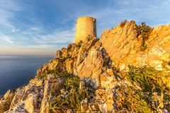 Watchtower `Torre de Albercutx`. Torre de Albercutx is located at a height of 390m sea level on the Formentor peninsula in the north of Mallorca. Watchtowers as royalty free stock photography