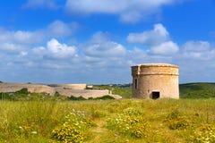 Watchtower van Menorcala Mola toren Cala Teulera in Mahon Royalty-vrije Stock Foto