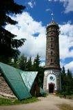 Watchtower Zlaty Chlum in Jeseniky-bergen Stock Afbeeldingen