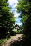 Watchtower Zlaty Chlum in Jeseniky-bergen Royalty-vrije Stock Foto's