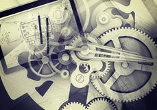 Watchwork hjul med den teckningsmaterial och minnestavlan Royaltyfria Foton