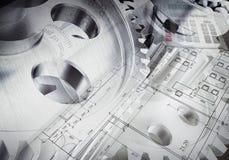 Watchwork hjul med den teckningsmaterial och räknemaskinen Fotografering för Bildbyråer