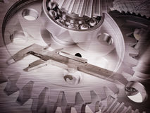 Watchwork wheels and ruler Stock Image