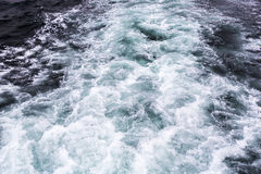 Wate waves behind boat. Wate waves are being formed behind a boat stock photo
